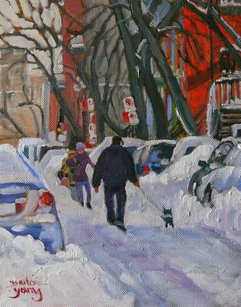 """""""832 Montreal Winter, Walking the Dog 8x10 oil"""" original fine art by Darlene Young"""