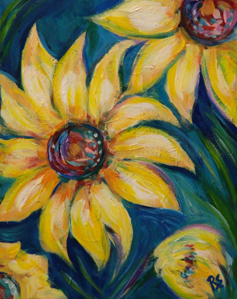 """Anniversary Sunflowers"" original fine art by Roberta Schmidt"