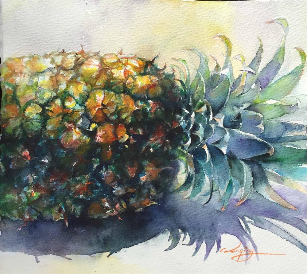 """pineapple"" original fine art by Wenqing Xu"