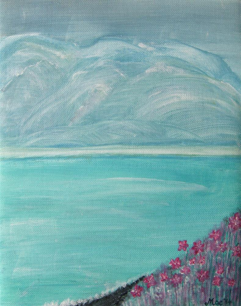 """""""Pink Flowers By The Ocean"""" original fine art by Alina Frent"""