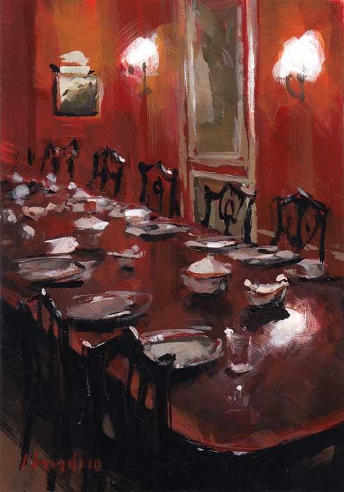"""""""Red Dining Room"""" original fine art by David Lloyd"""