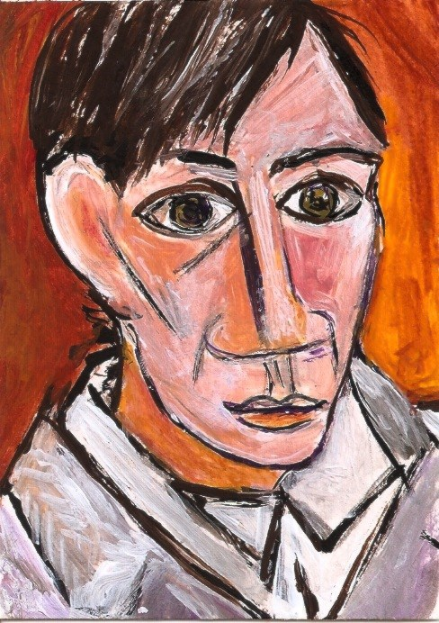 """""""ACEO Pablo's Self Portrait Painting in the Style of Picasso by Penny Lee StewArt"""" original fine art by Penny Lee StewArt"""