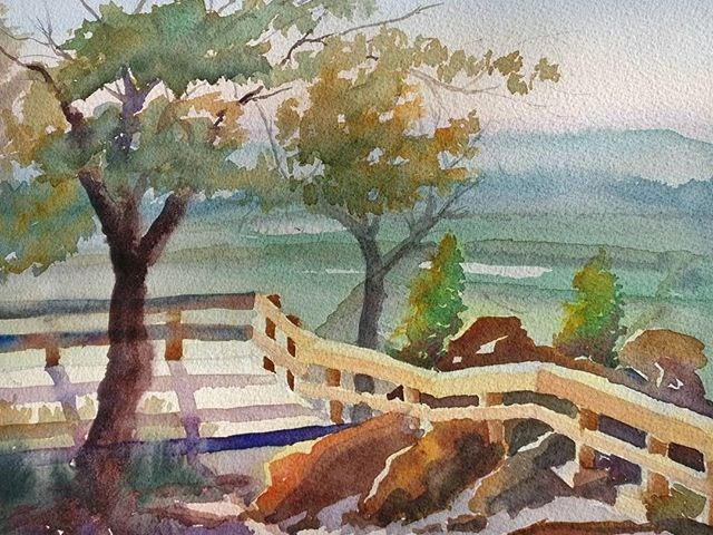 """Dusk Overlook at Ft. Chatsworth"" original fine art by Maria Peagler"