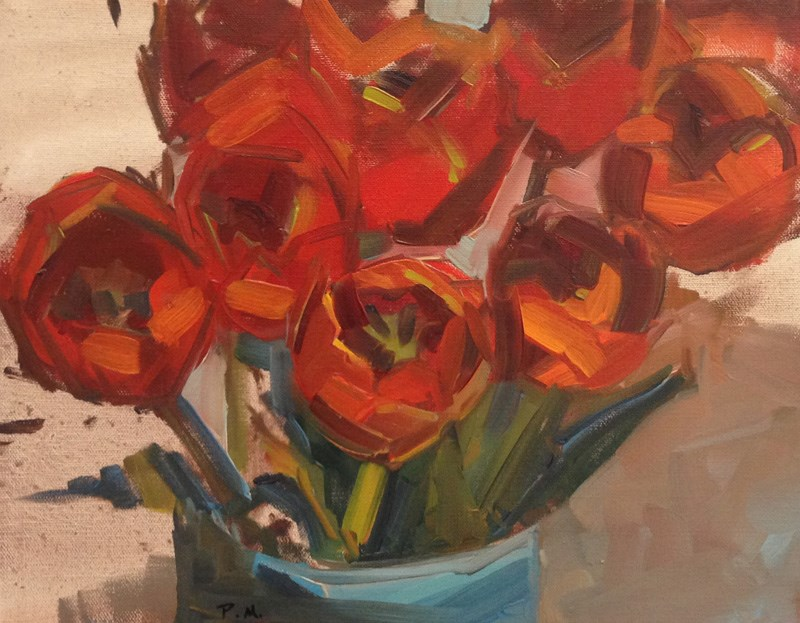 """Red Tulips in Norma's Vase"" original fine art by Patti McNutt"
