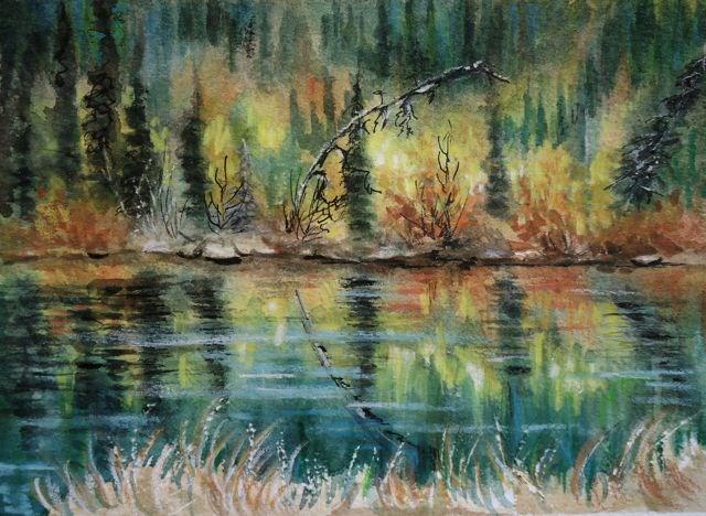 """Pond Reflections"" original fine art by Jackie Irvine"