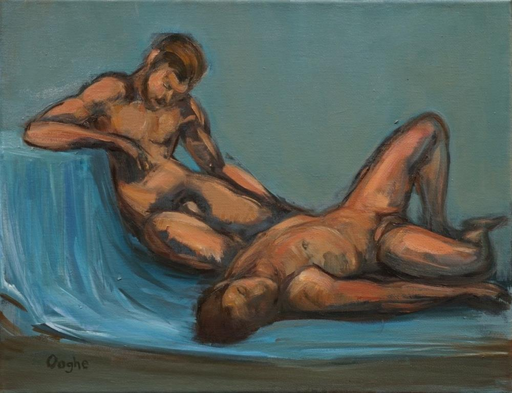 """Two Men on Blue"" original fine art by Angela Ooghe"