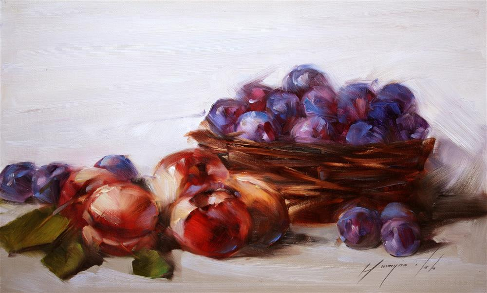 """""""STILL LIFE WITH PLUMS ORIGINAL OIL PAINTING OIL ON CANVAS GALLERY QUALITY"""" original fine art by V Y"""