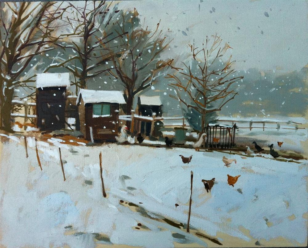 """""""Chicken huts in the snow"""" original fine art by Haidee-Jo Summers ROI"""