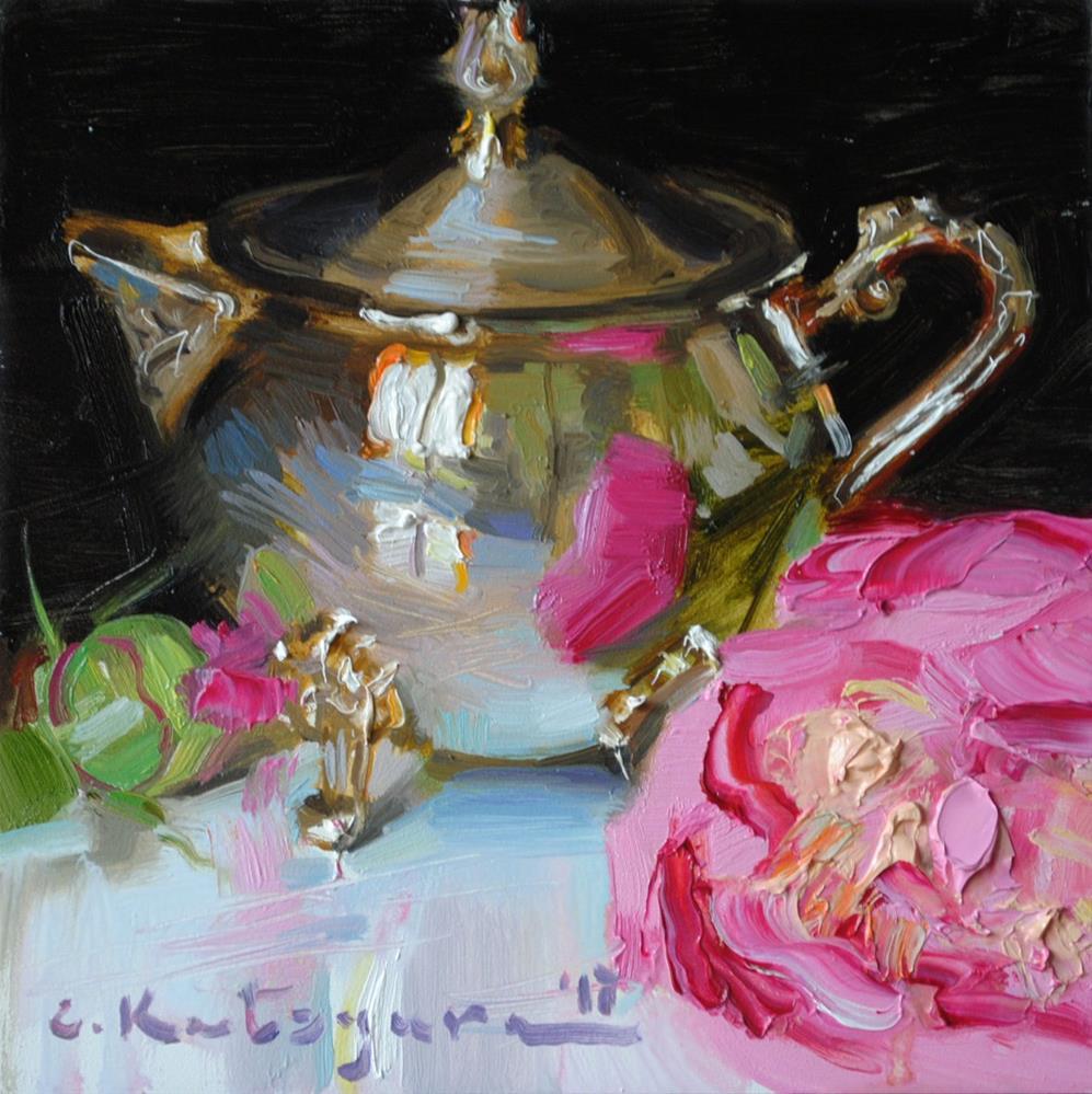 """Silver Creamer and Peony"" original fine art by Elena Katsyura"