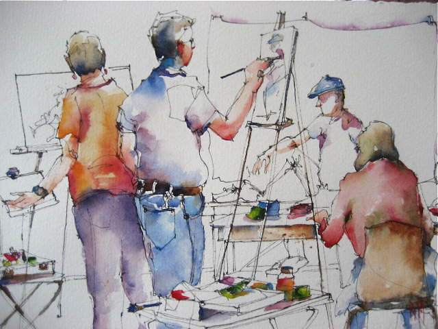 """""""The Painting Class"""" original fine art by Nora MacPhail"""