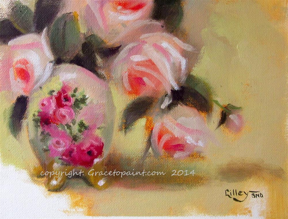 """""""Victorian Vase and Roses"""" original fine art by Maresa Lilley"""