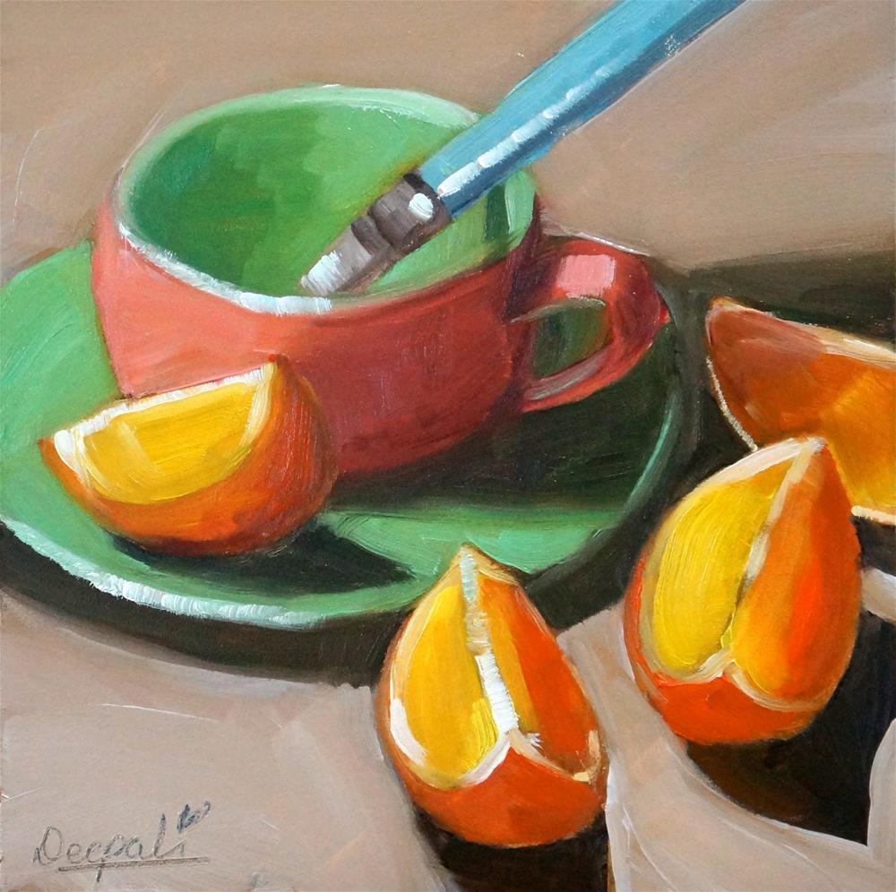 """Orange cup with slices"" original fine art by Dipali Rabadiya"