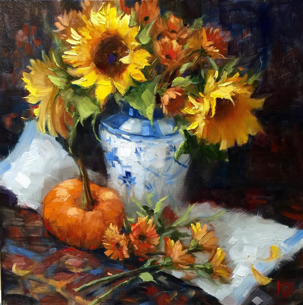 """Sunflowers & Pumpkin"" original fine art by Krista Eaton"