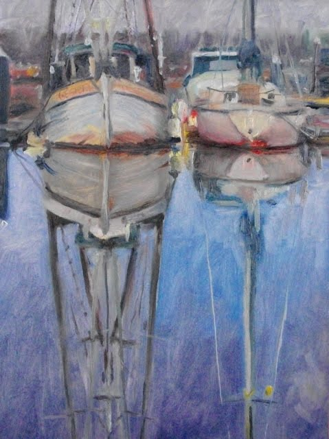 """""""Two Boats from the Poulsbo Marina, oil marine scape"""" original fine art by Robin Weiss"""