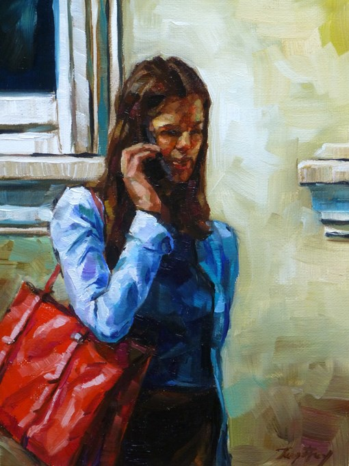 """red bag"" original fine art by Jurij Frey"