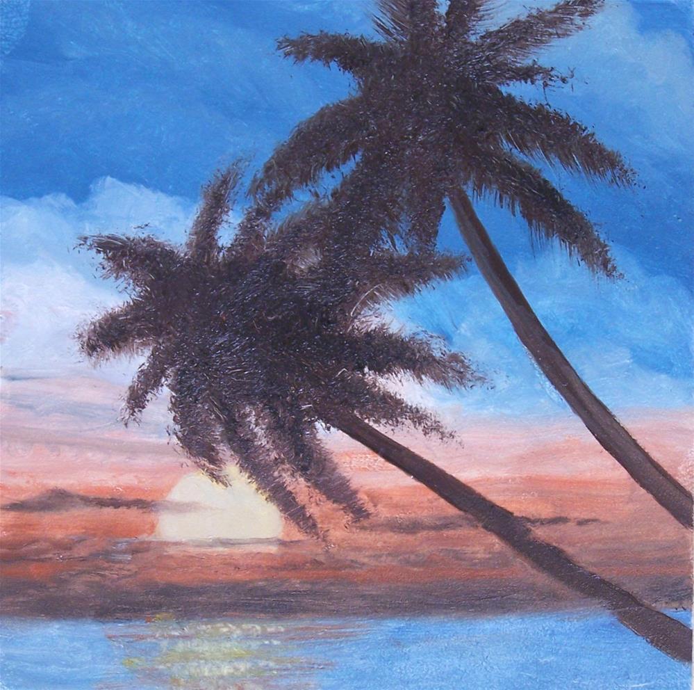 """Palms at Sunset"" original fine art by John Marcum"