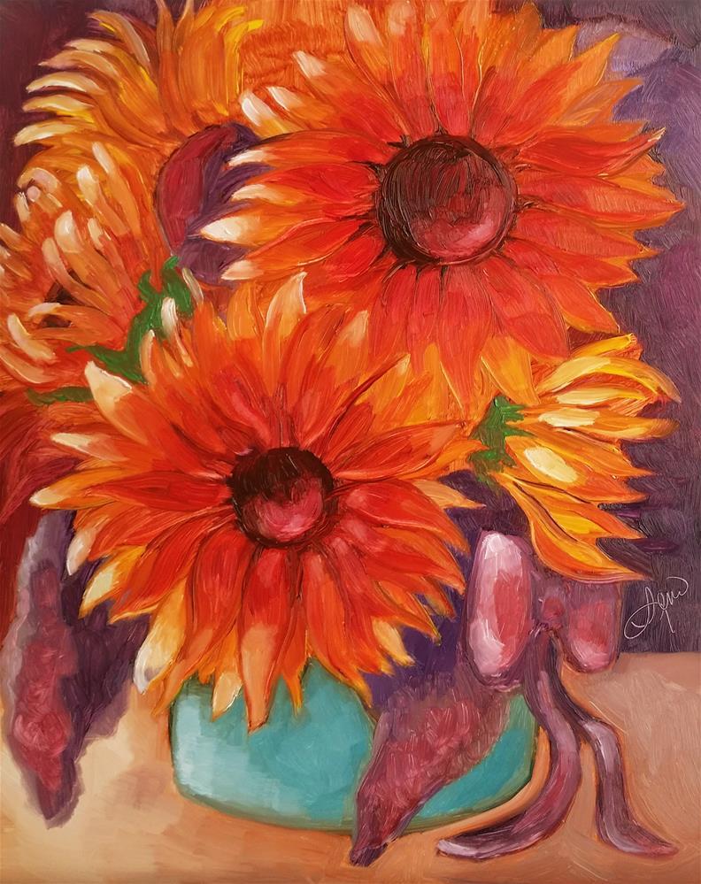"""""""Sunflower Splash"""" original fine art by Leni Tarleton"""