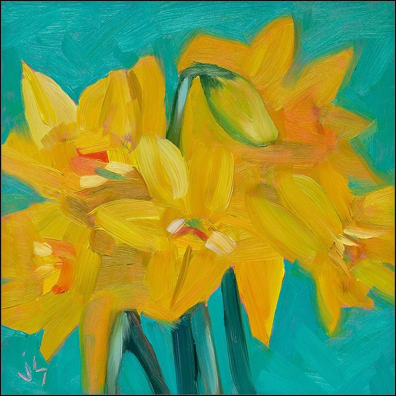 """Double Lion Head Daffodils"" original fine art by Johnna Schelling"