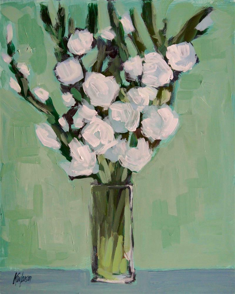 """Tall White Flowers"" original fine art by Kevin Larson"