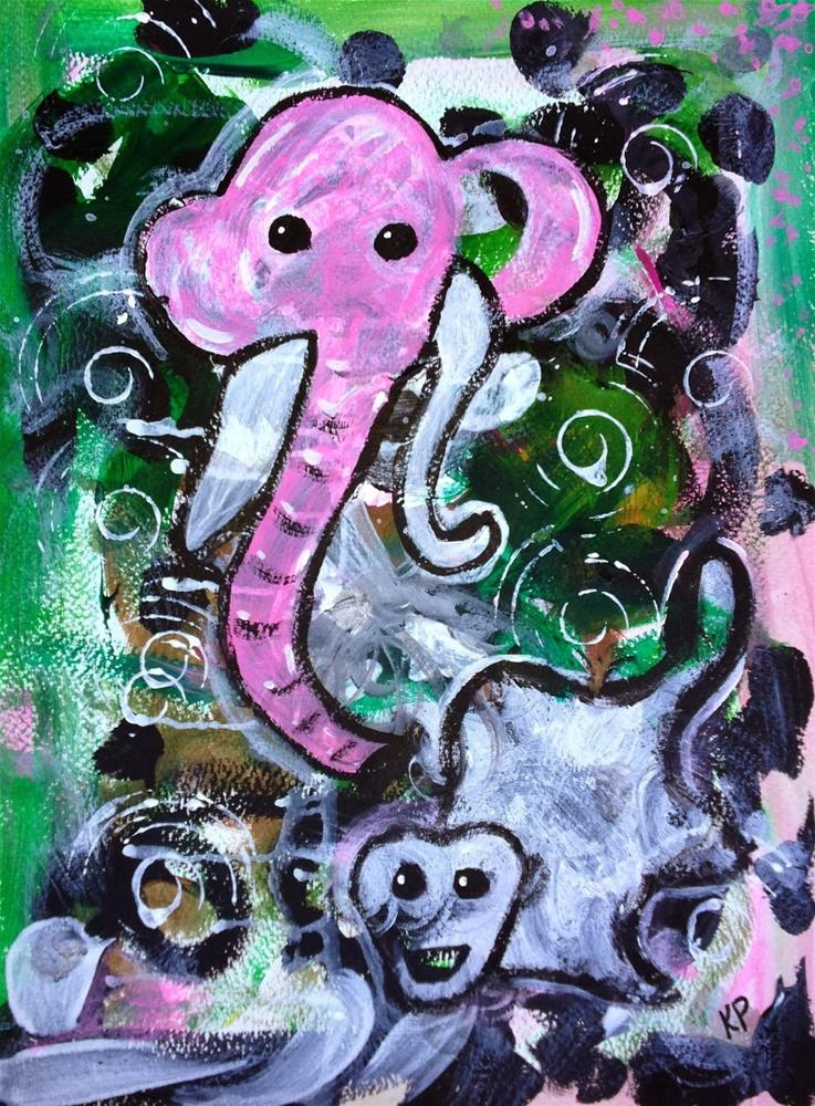 """""""Jumping out of the Jungle"""" original fine art by Kali Parsons"""