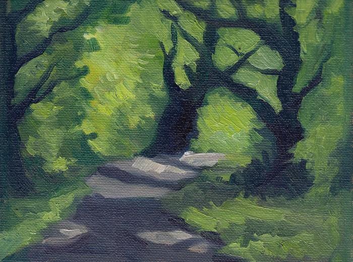 """Sun Through Trees Study"" original fine art by J M Needham"