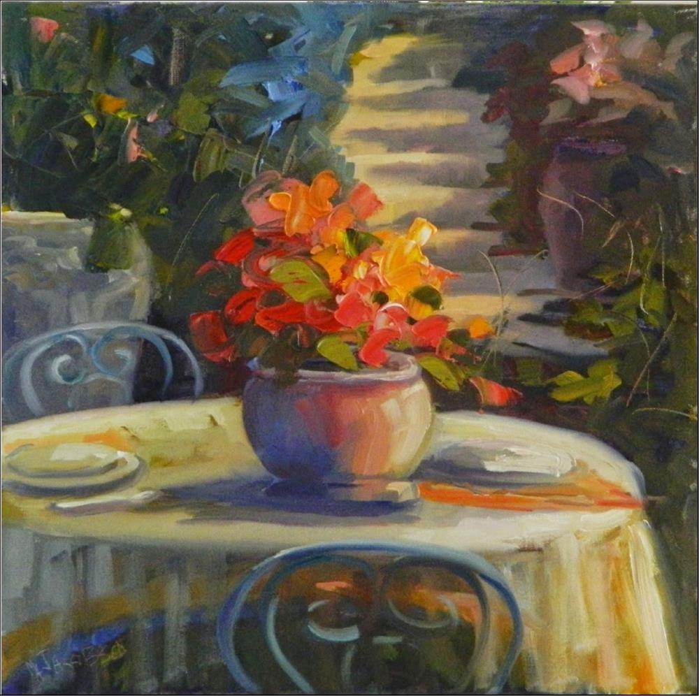 """Table for Two, 18x18, oil on wrapped canvas"" original fine art by Maryanne Jacobsen"