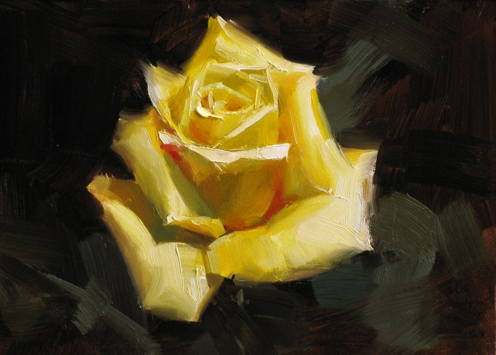 """Texas Yellow Rose"" original fine art by Qiang Huang"