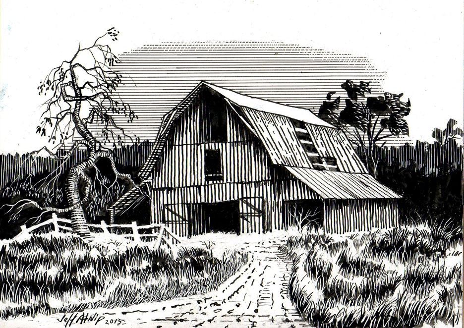 """Barn with Tree"" original fine art by Jeff Atnip"