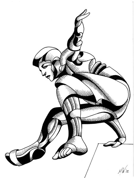 """""""Mark Webster - Dave 25.03 - Abstract Geometric Futurist Figurative Ink Drawing"""" original fine art by Mark Webster"""