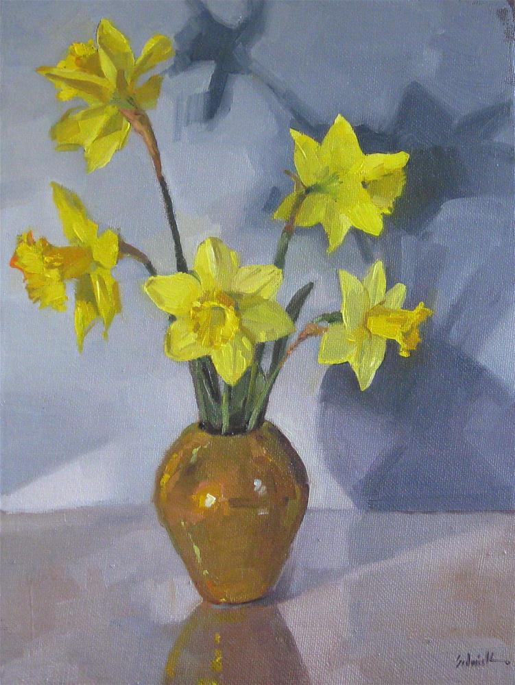 """""""Daffodil Bouquet on Blue spring flowers floral oil painting still life"""" original fine art by Sarah Sedwick"""