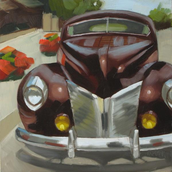 """1940 Mercury  6x6 oil"" original fine art by Claudia Hammer"