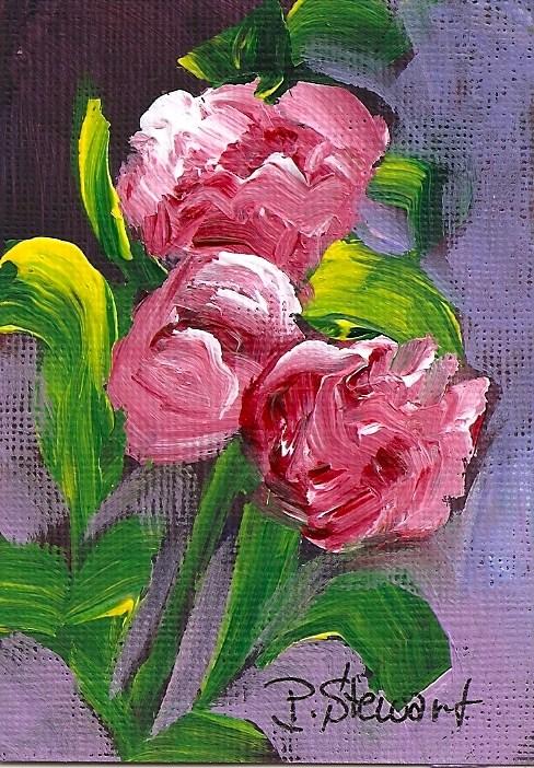 """ACEO 3 Roses No Vase Acrylic impasto ala prima style"" original fine art by Penny Lee StewArt"