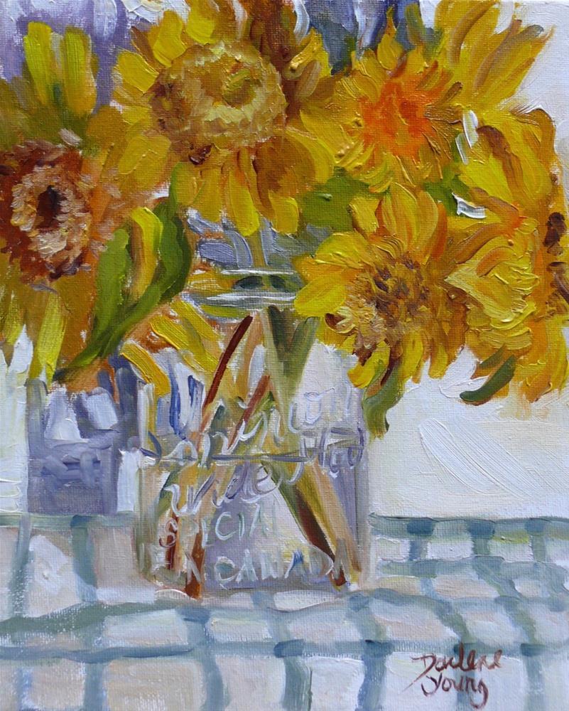 """""""996 Market Sunflowers, 8x10, oil on board"""" original fine art by Darlene Young"""