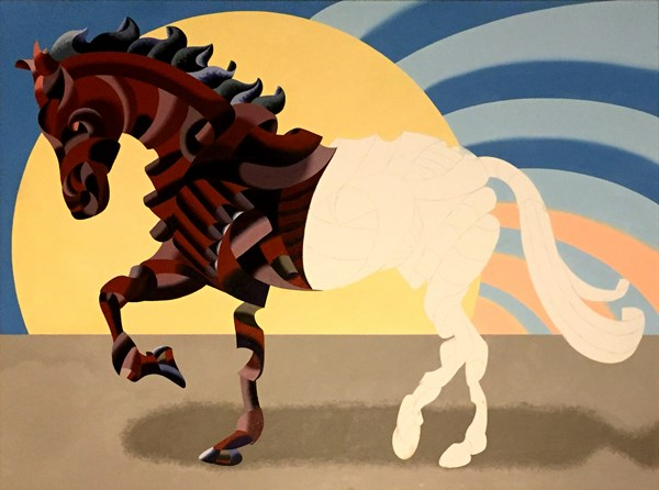 """""""Mark Webster - Abstract Geometric Futurist Horse Oil Painting in Progress"""" original fine art by Mark Webster"""