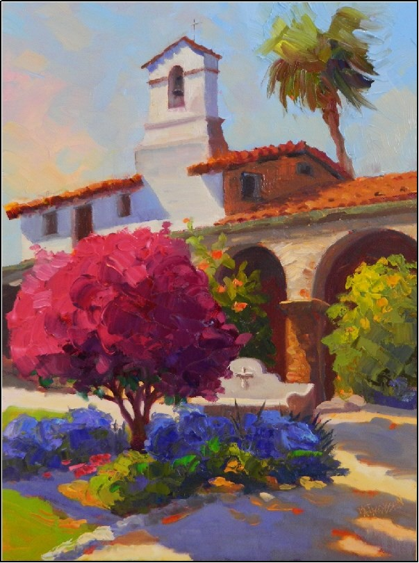 """""""Afternoon Color, Mission Capistrano, 12x16, oil on panel, Mission San Juan Capistrano, Father Serr"""" original fine art by Maryanne Jacobsen"""