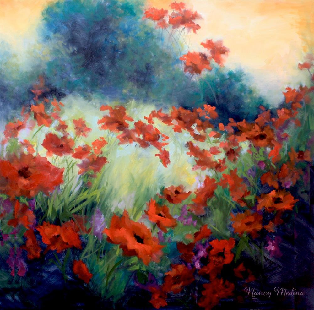 """Serenity Garden Poppies - Nancy Medina Art Classes and Videos"" original fine art by Nancy Medina"