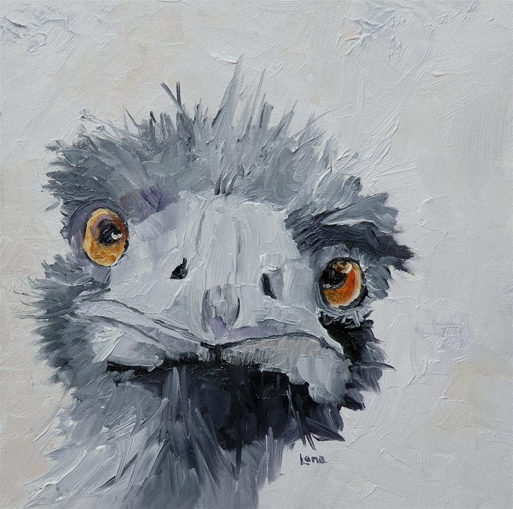 """OSTRICH ORIGINAL MINI OIL ON PANEL © SAUNDRA LANE GALLOWAY"" original fine art by Saundra Lane Galloway"