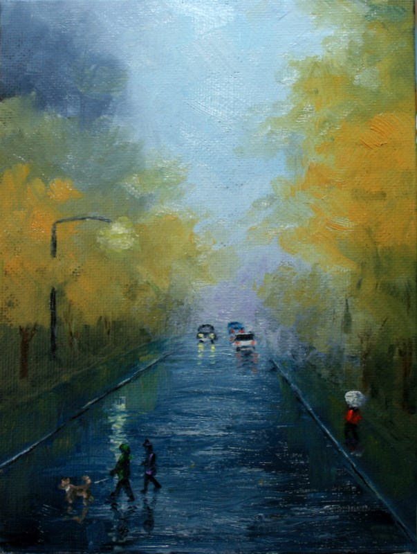 """Rainy Day in Fall"" original fine art by Jean Nelson"