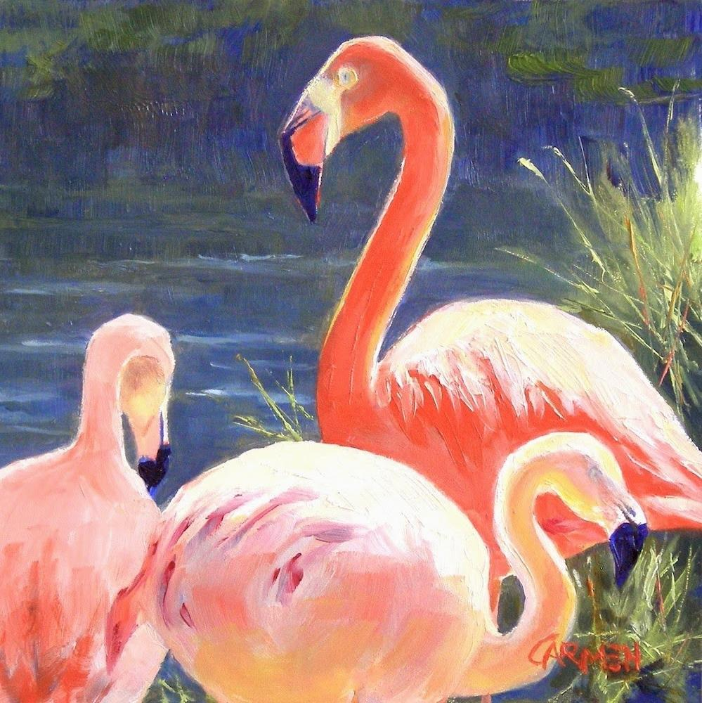 """Pretty in Pink, 6x6 Oil on Canvas Panel Wildlife Painting"" original fine art by Carmen Beecher"