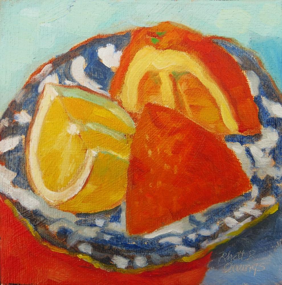 """Citrus on a Blue Plate"" original fine art by Rhett Regina Owings"
