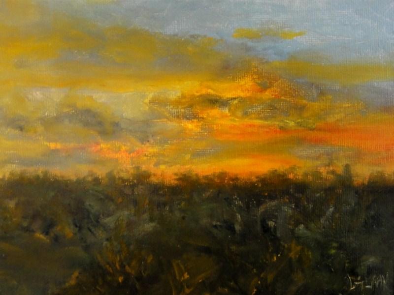 """""""Fiery Sunset"""" original fine art by Dalan Wells"""