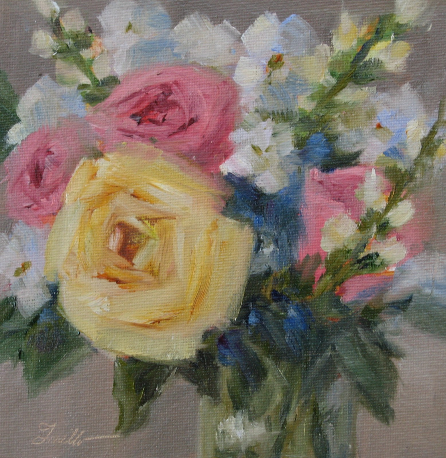 """Take time to smell the roses"" original fine art by Pat Fiorello"