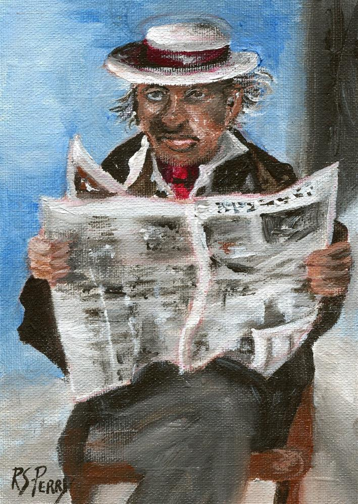 """Man Reading the Paper"" original fine art by R. S. Perry"