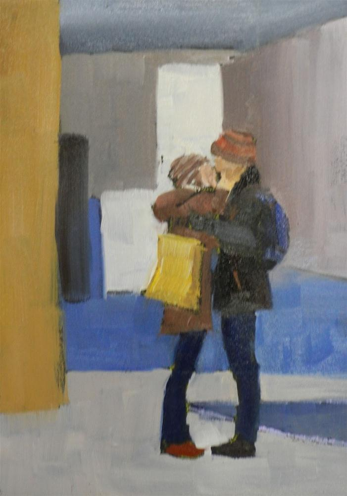 """The Kiss, 5x7 Inches, Oil"" original fine art by Kelley MacDonald"