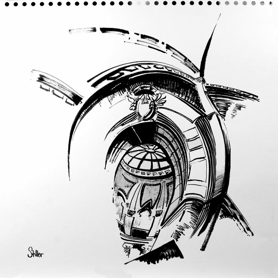"""""""3066 Town-Hall Sketch """" original fine art by Dietmar Stiller"""