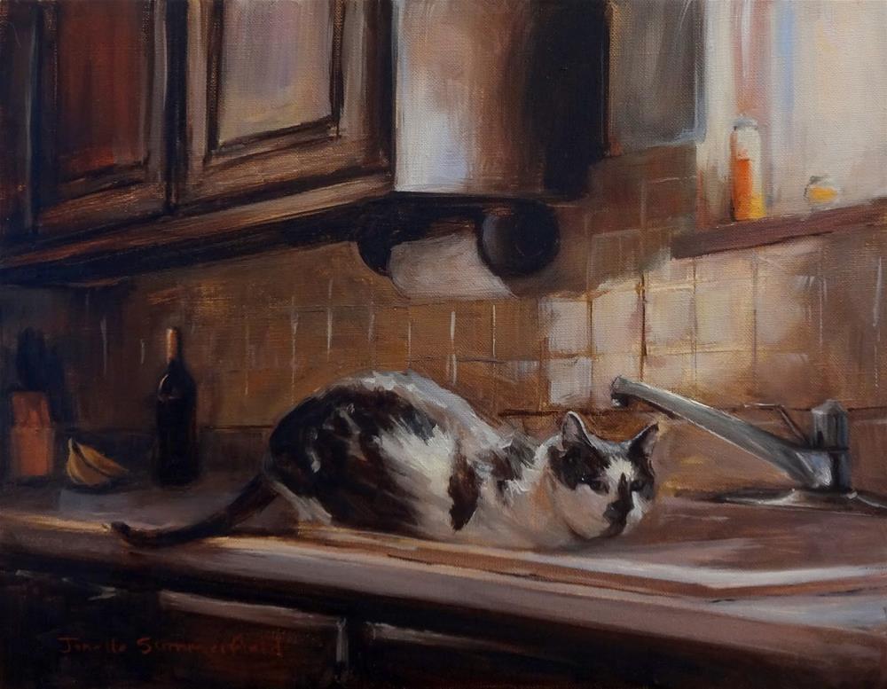 """Thirsty Cat"" original fine art by Jonelle Summerfield"