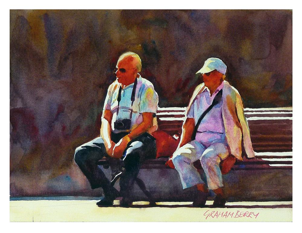 """'Same couple, same bench.'"" original fine art by Graham Berry"