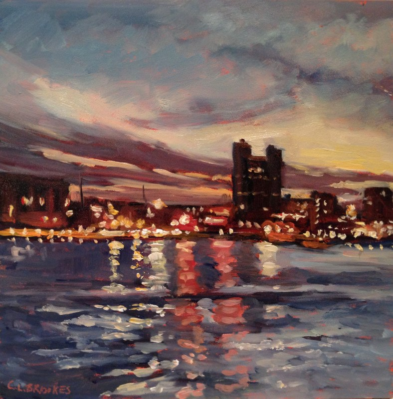 """Harbor Lights I, Day 69"" original fine art by Claudia L Brookes"
