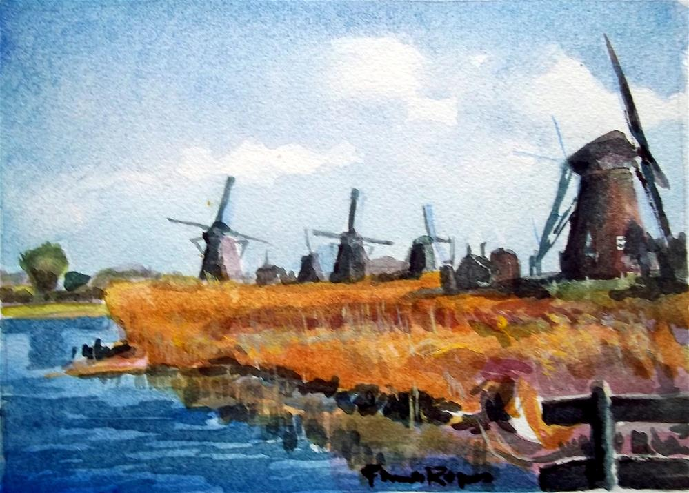 """Windmills at Kinderdijk"" original fine art by Pamela Jane Rogers"