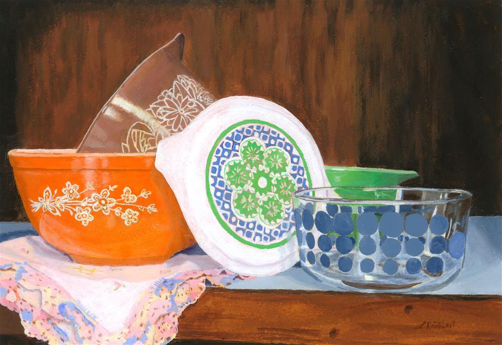 """History of Pyrex"" original fine art by Lynne Reichhart"